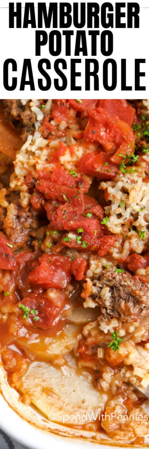 A hamburger potato casserole with writing