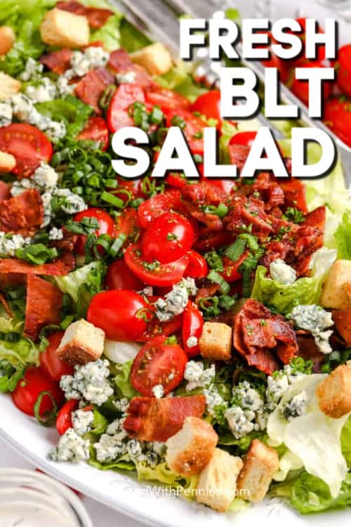 BLT Salad prepared and ready for dressing, shown with writing