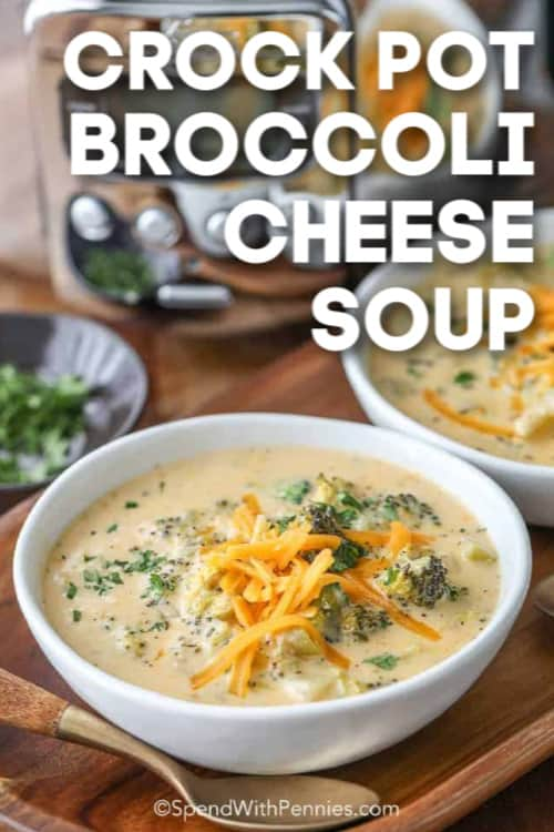 Crock Pot Broccoli Cheese Soup in a bowl ready with a soup spoon.