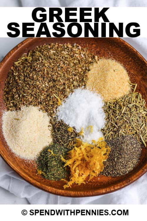 Greek seasoning ingredients with writing