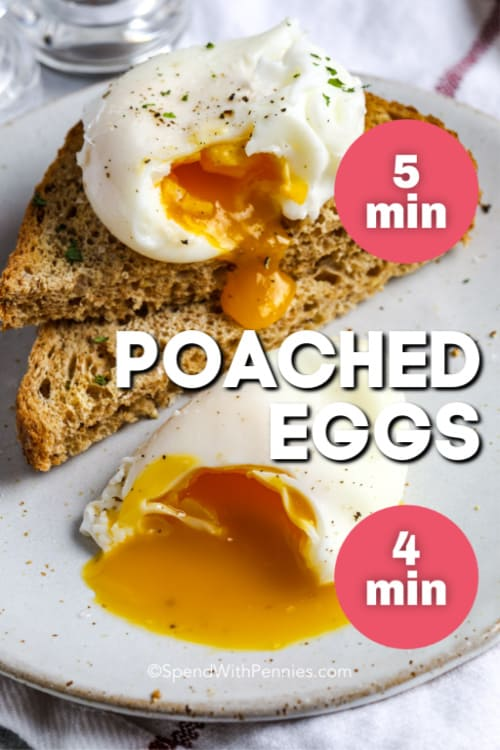 Examples of 4 minute and 5 minute poached eggs with toast