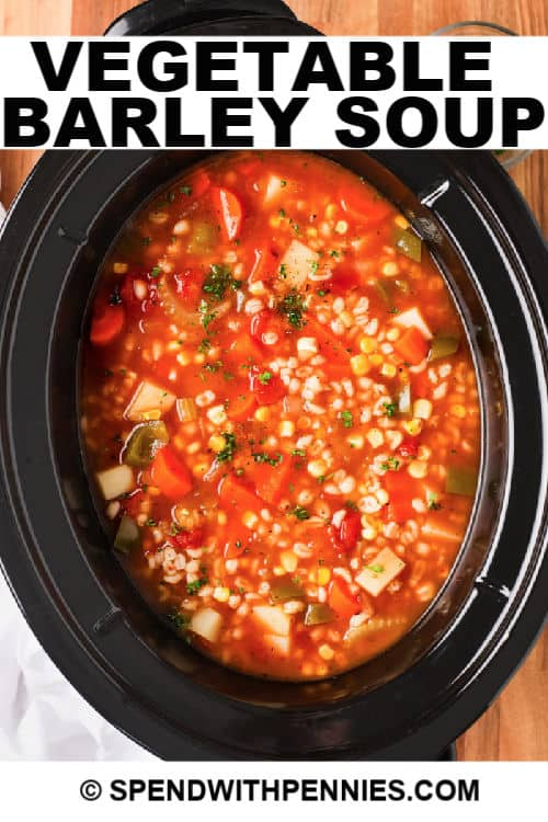 Vegetable barley soup in a crockpot with writing