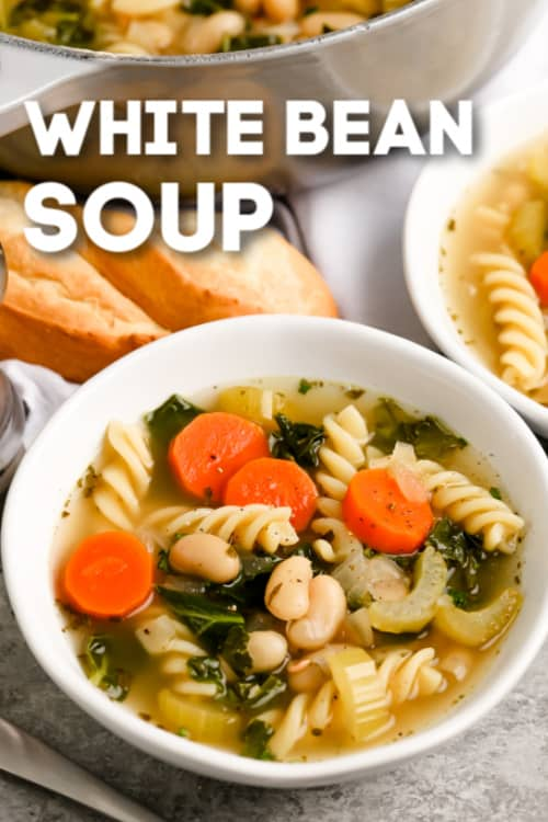 A serving of white bean soup with text