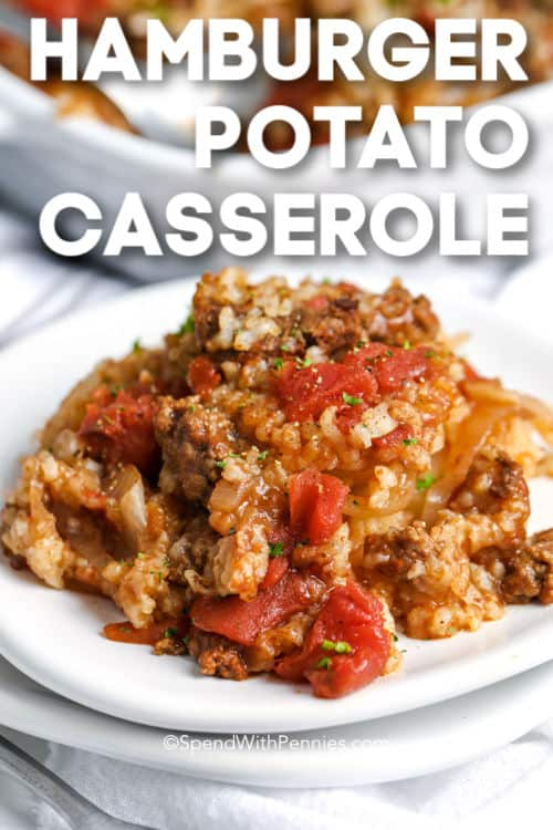 A serving of hamburger potato casserole with text