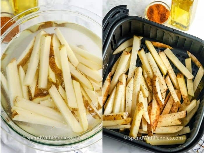 Potatoes in a bowl of water and in an air fryer