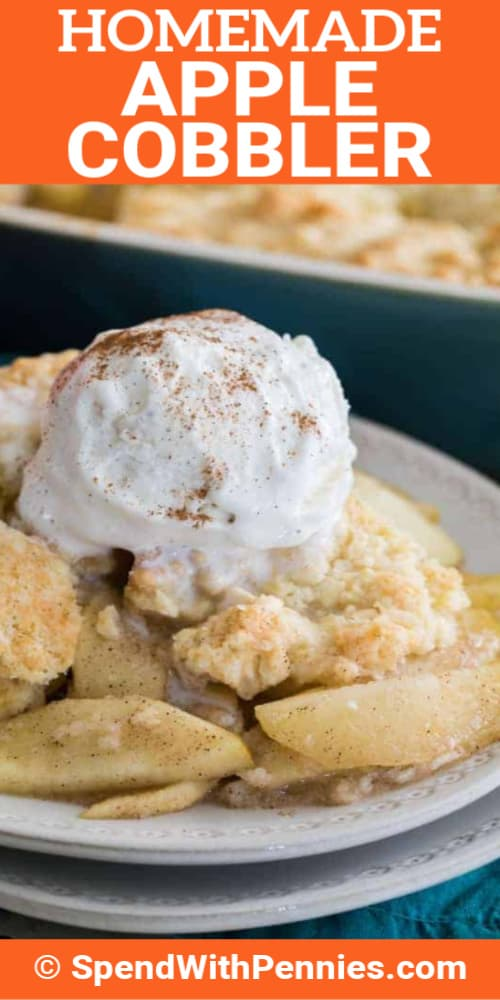 Apple Cobbler topped with ice cream and a cinnamon sprinkle on white plate