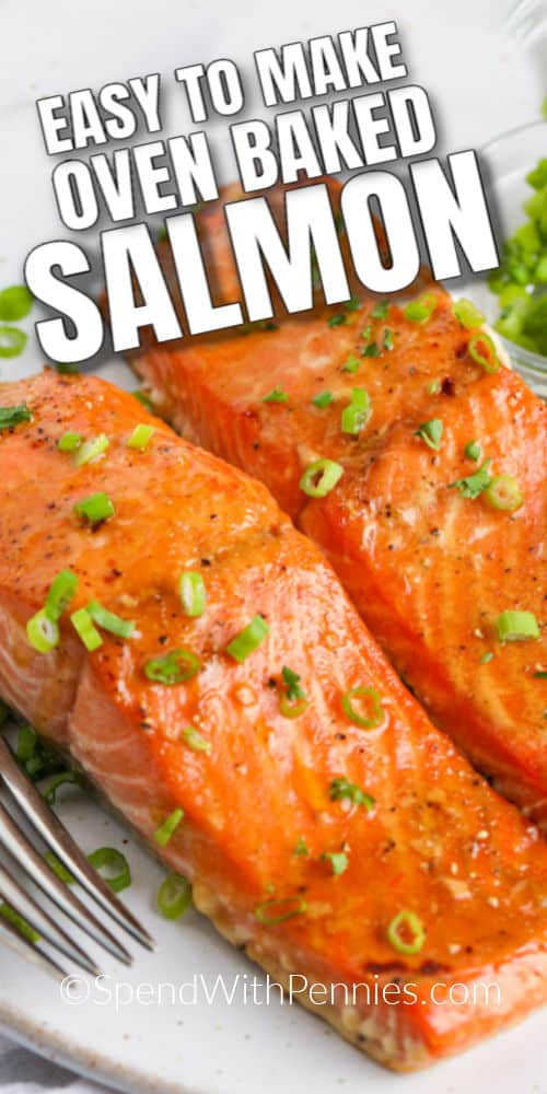 Baked Salmon garnished with green onions on a plate with writing
