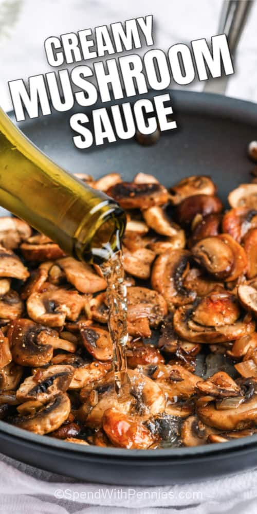 Wine being poured into a frying pan of mushrooms with text.