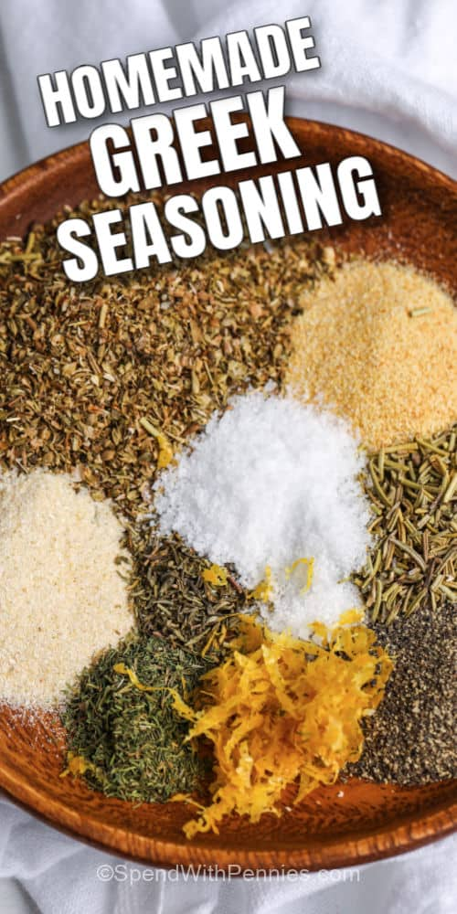 Homemade Greek seasoning ingredients with writing