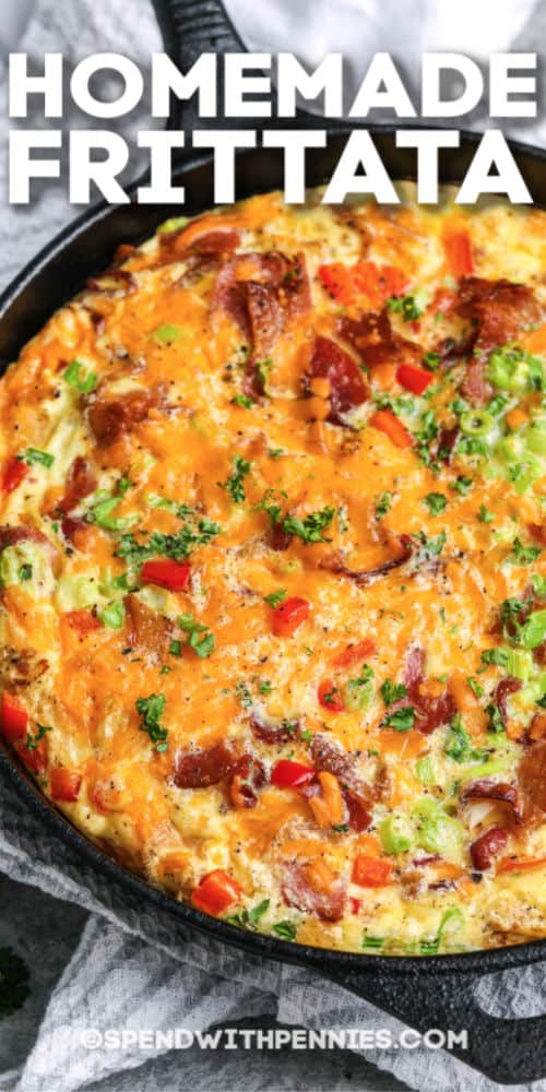A baked frittata with writing