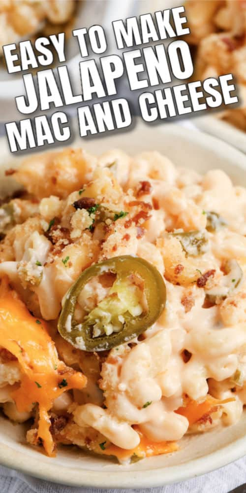jalapeno mac and cheese on a white plate with writing