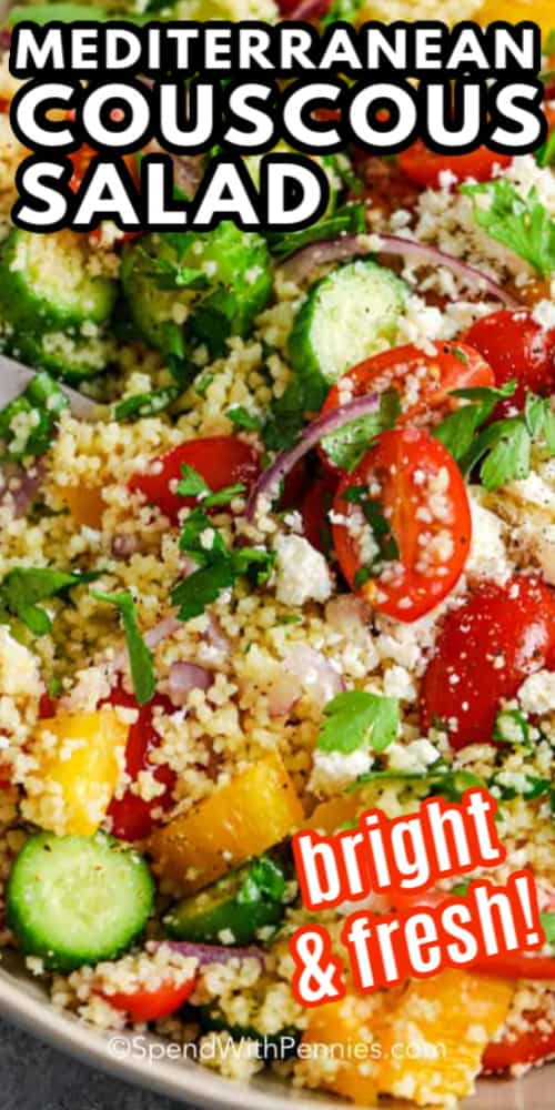 Couscous salad with tomatoes, cucumbers and peppers.