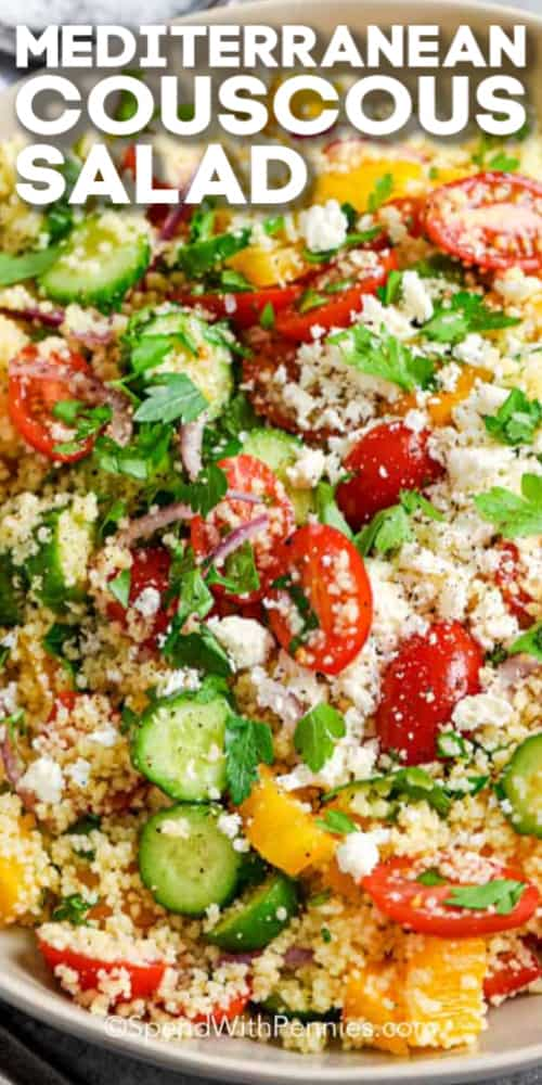 A prepared couscous salad with tomatoes and cucumbers, shown with a title.
