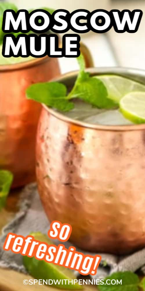 Moscow Mule with lime and mint garnish with title.