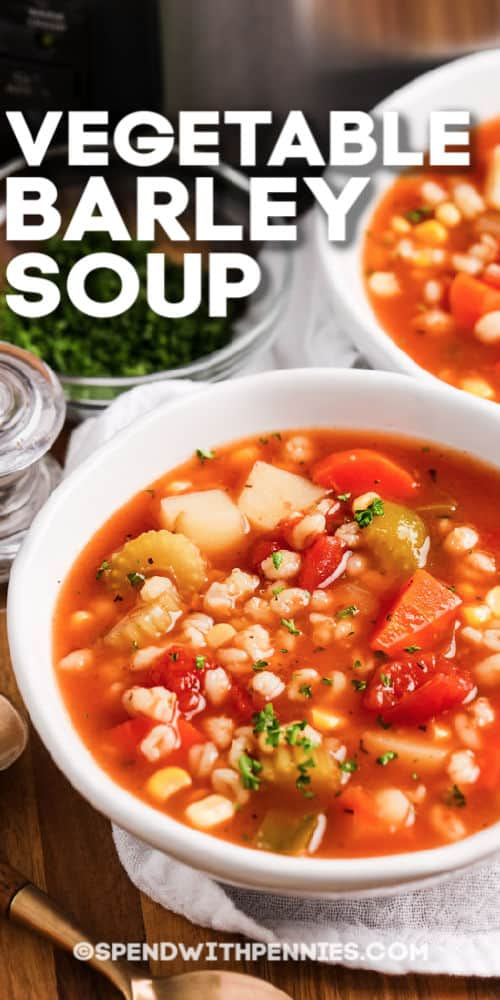 Two bowls of vegetable barley soup with writing