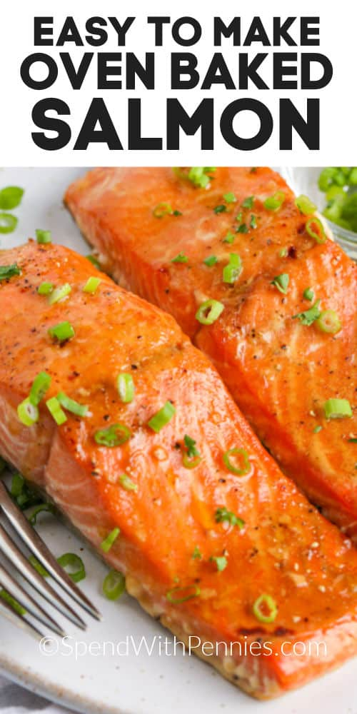Baked Salmon on a plate with writing