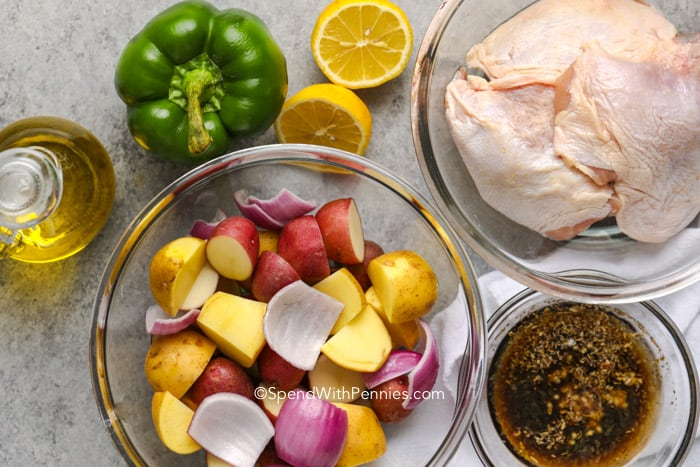 Ingredients for Sheet Pan Greek Chicken