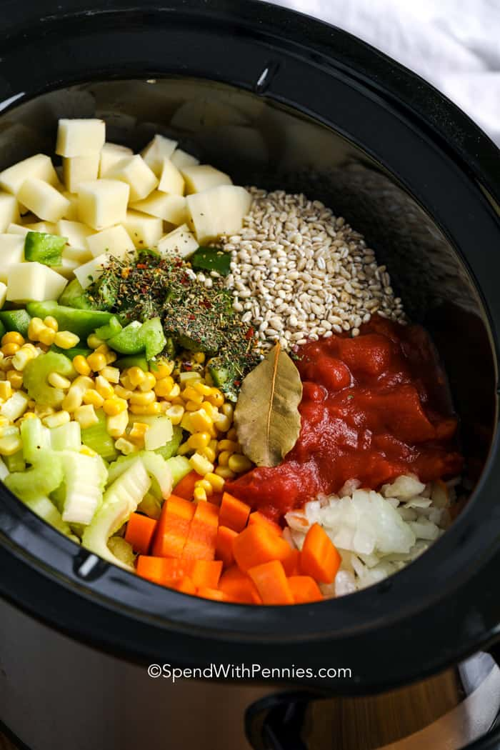 Dry ingredients for vegetable barley soup in a crock pot