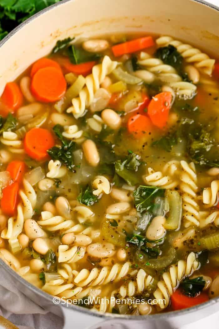 White bean soup in a stock pot