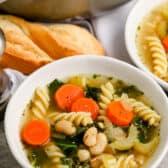 A serving of white bean soup