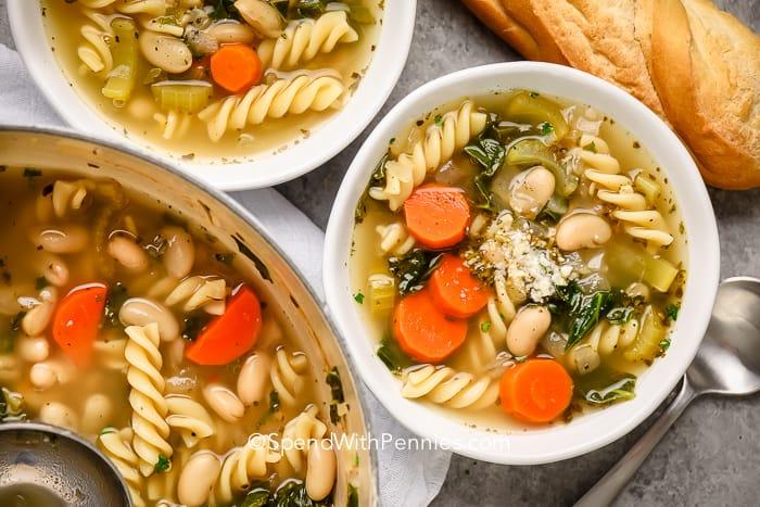 Two bowls of white bean soup