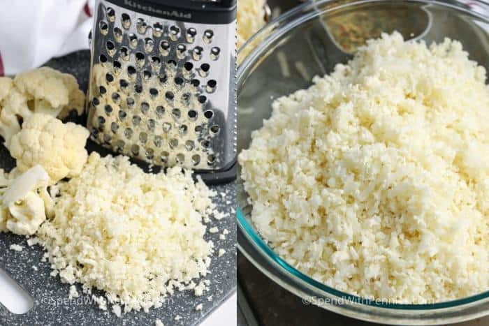 Two image showing cauliflower being grated