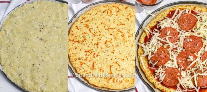 Three images showing the steps to prep, bake, and top the cauliflower pizza crust