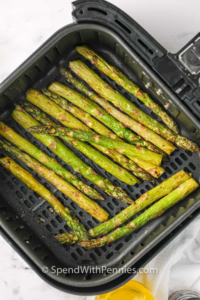 Asparagus fried in the air fryer