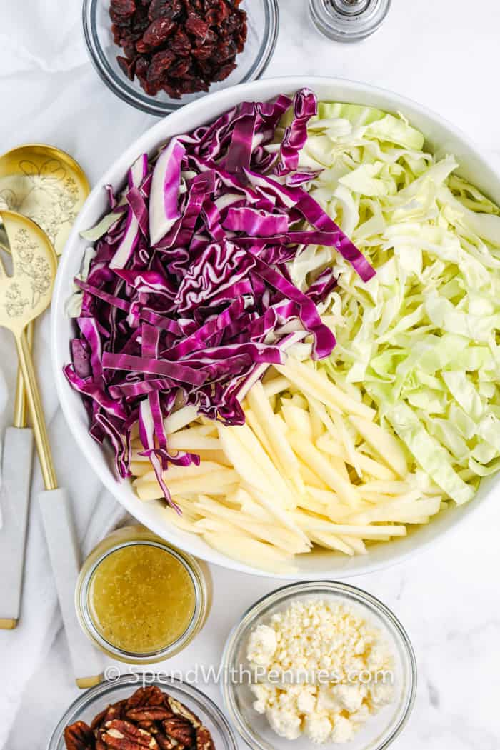 top view of ingredients and Cabbage Salad in a white bowl