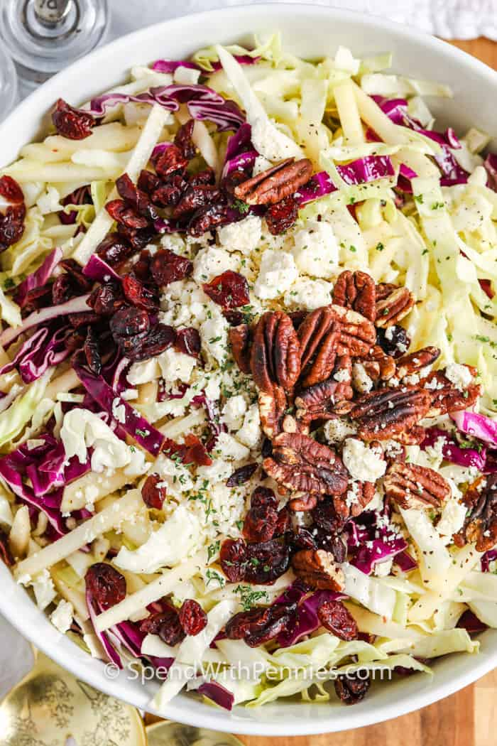 close up of Cabbage Salad in a big white bowl