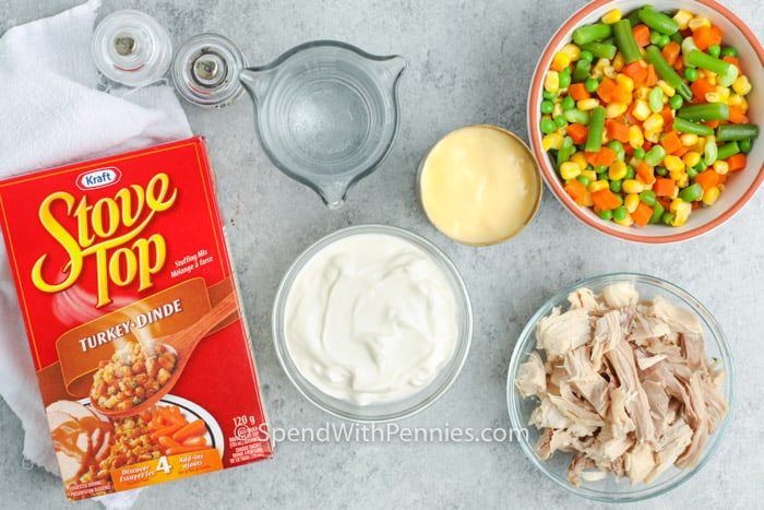 ingredients for chicken stuffing casserole on a marble board