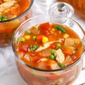 A bowl of chicken vegetable soup