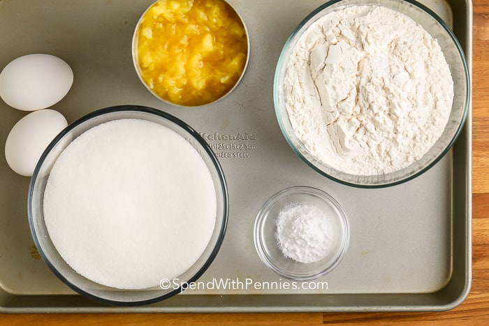 Pineapple cake ingredients on a tray
