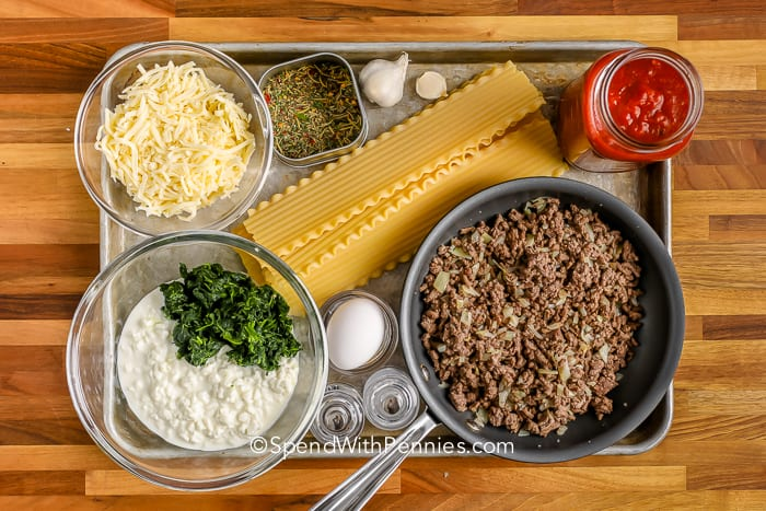 Ingredients for making instant pot lasagna on a tray