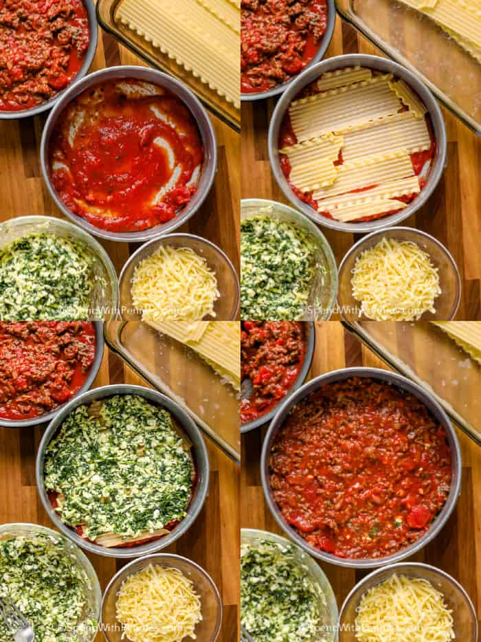 4 steps of laying Instant Pot Lasagna