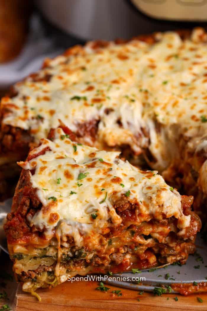 A slice of Instant pot lasagna being served