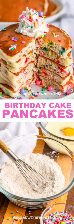 Top image - a stack of birthday cake pancakes. Bottom image - cake mix pancakes dry ingredients with writing