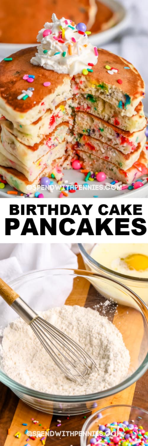 Top image - a stack of cake mix pancakes Bottom image - dry ingredients in a bowl