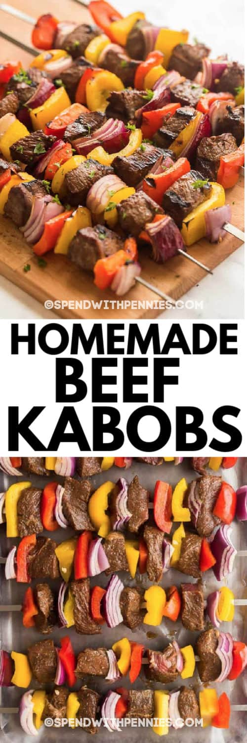 Homemade beef kabobs with writing