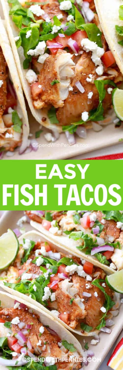 A Fish Taco in a tray, and Fish Tacos lined in a tray underneath the title.