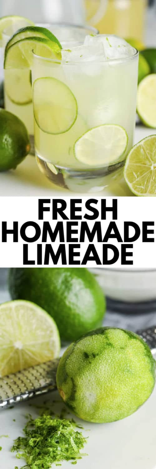 top image - a glass of limeade. bottom image - a lime being zested