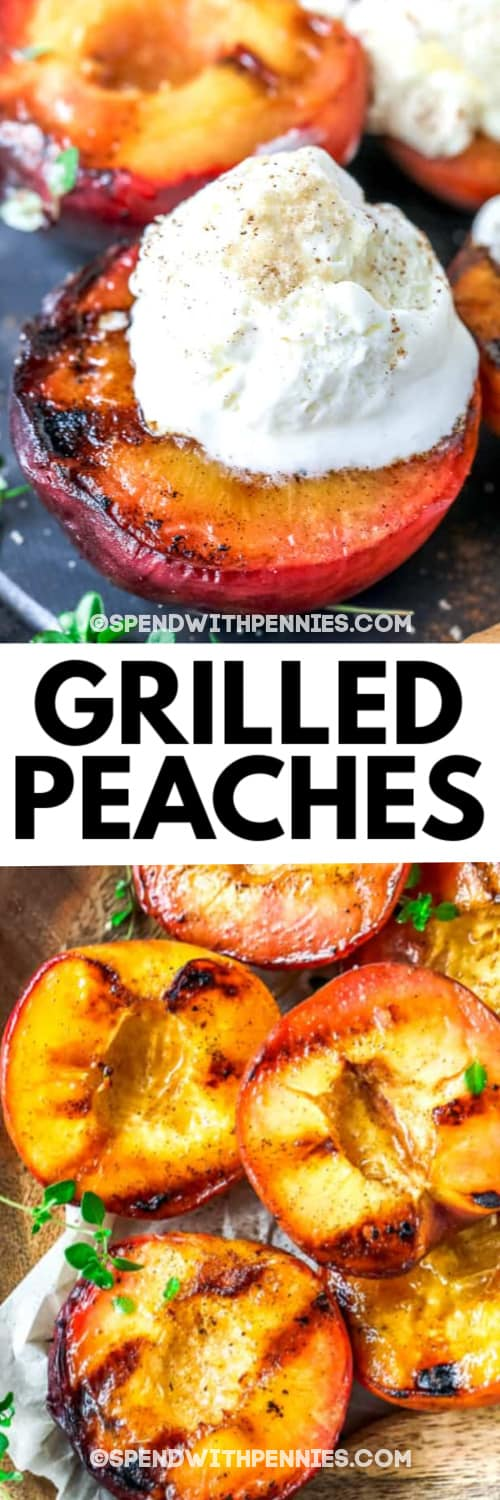 A grilled peach topped with ice cream and grilled peaches in a wooden bowl under writing.