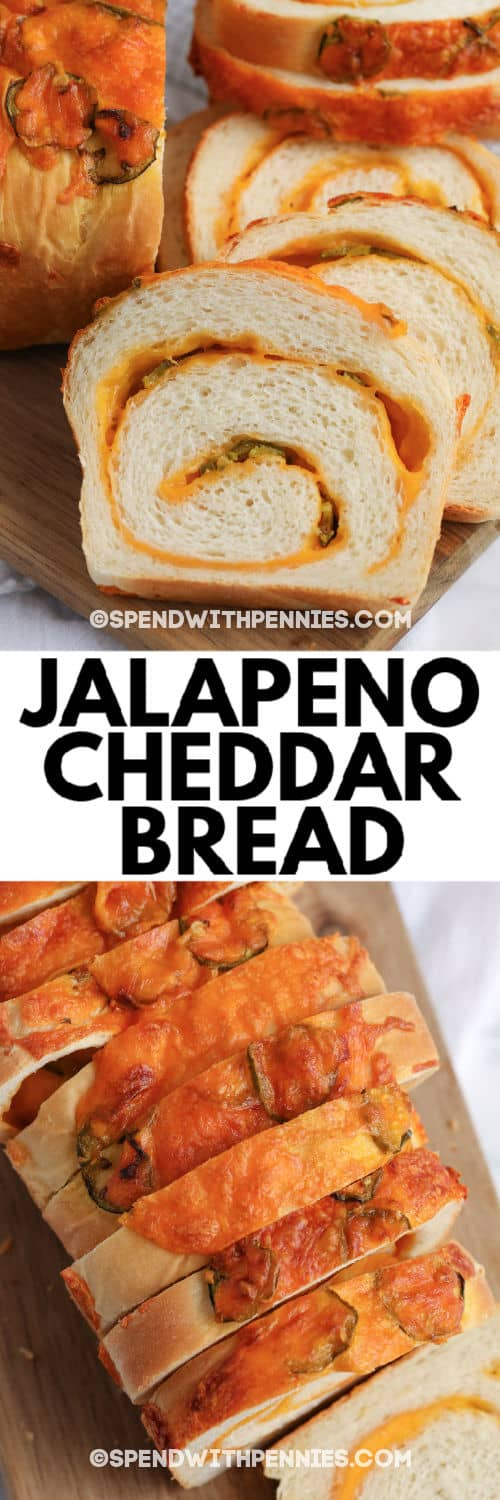 Top image - sliced Jalapeno Cheddar Bread. Bottom image - top view of sliced Jalapeno Cheddar Bread