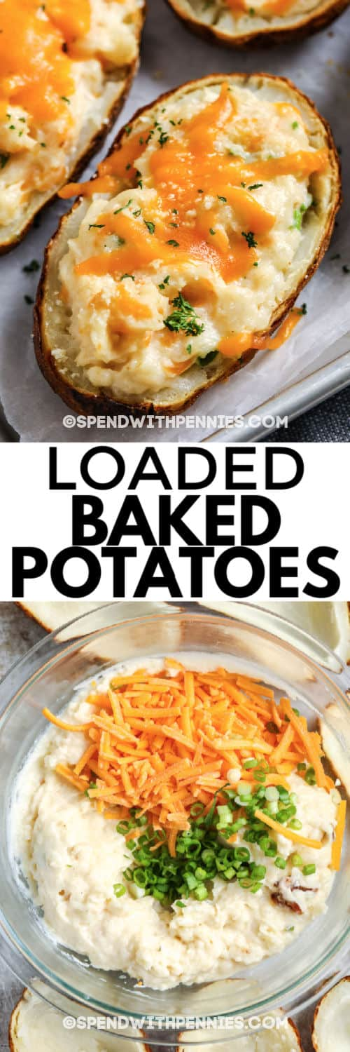 potatoe mixture in a glass bowl to make Loaded Baked Potatoes with writing and an image of the finished potatoe