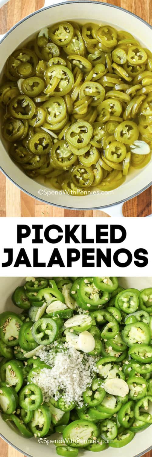 Top image is pickled jalapenos in a pot, bottom image is raw jalapenos with salt in a pot with a title