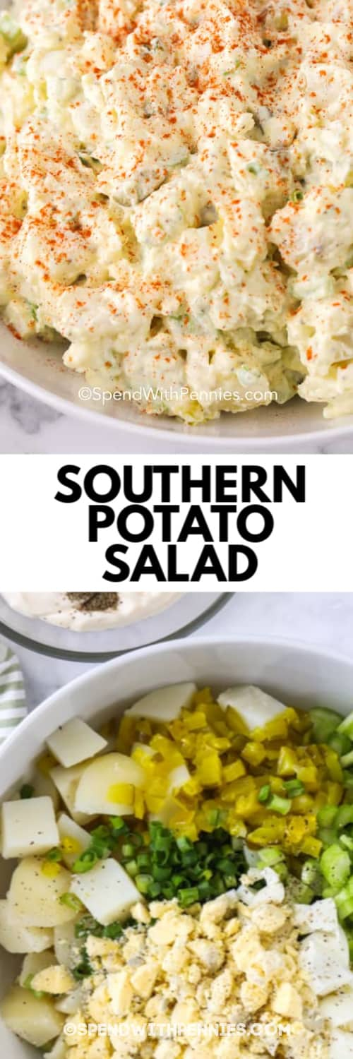 Southern Potato Salad sprinkled with paprika, and the ingredients assembled in a white bowl ready to mix together under the title.