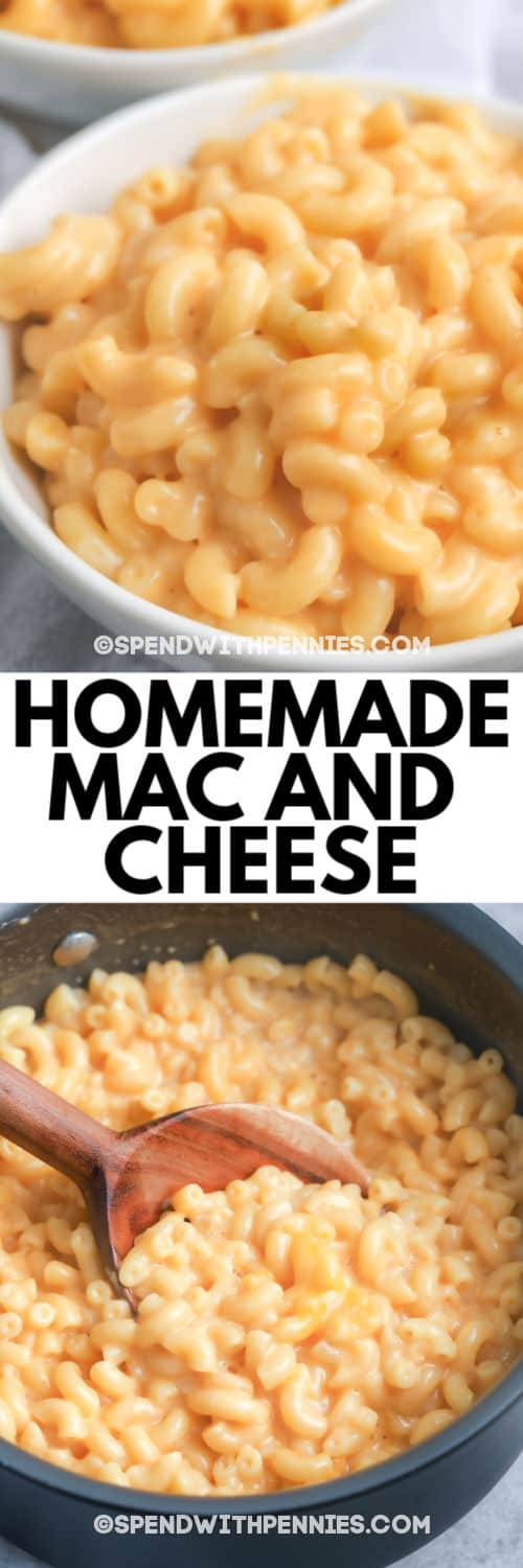 top image is Stove Top Mac and Cheese in a white bowl, bottom image is Stove Top Mac and Cheese in a pot with a wooden spoon and a title