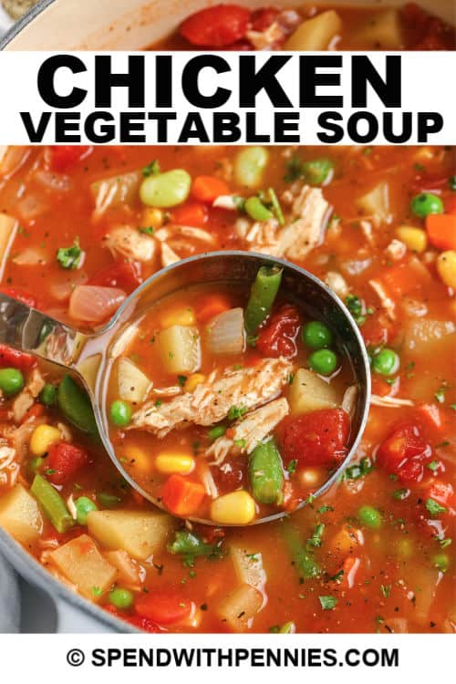 Chicken vegetable soup being served with writing