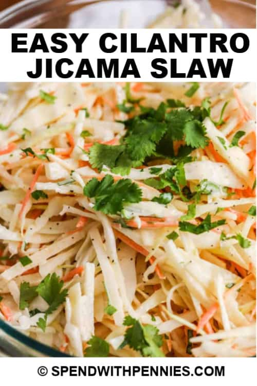 Cilantro Jicama Slaw in a clear serving bowl with a title.