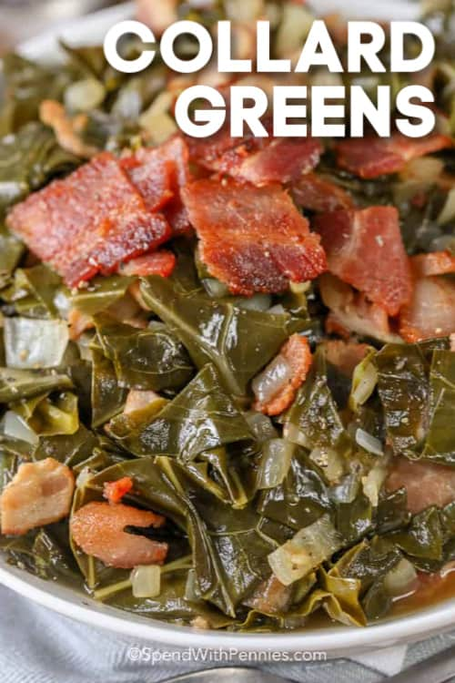 A white bowl filled with collard greens topped with crispy bacon and onions, with a title.